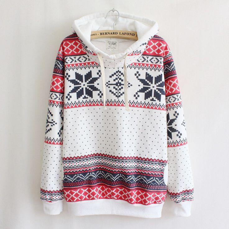 It's a sweater hoodie! New Womens Cute Cartoon Snow Flake Ski Printed Sweater Pullover Hoodies Jacket