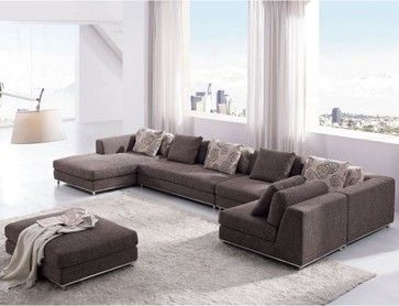 Tosh Furniture Contemporary Modern Brown Fabric Sectional Sofa - modern - sectional sofas - Hayneedle