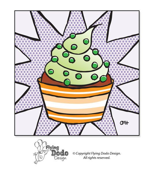 Square Illustration of a Cupcake - Green Frosting, Orange Cup, Purple Background - Print