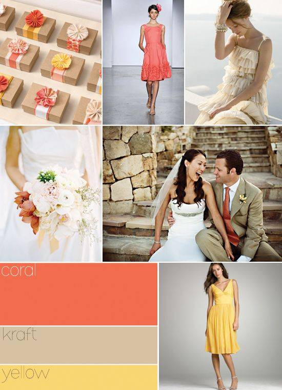 Coral: Ideas, Colors Combos, Yellow Wedding, Color Schemes, Colors Palettes, Wedding Colors, Colors Schemes, Coral Weddings, Favors Boxes