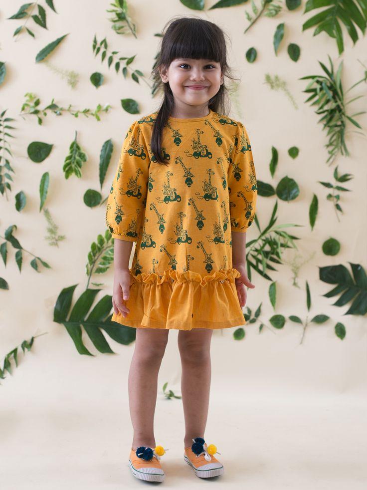 Buy Mustard Yellow Giraffe and Zebra Print Dress