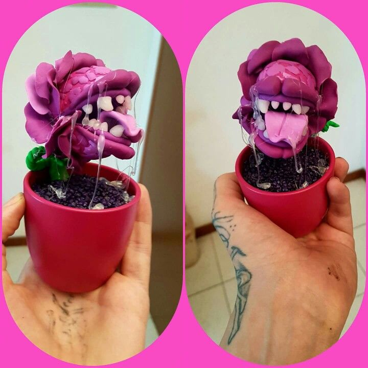Hand made polymer clay monster flower