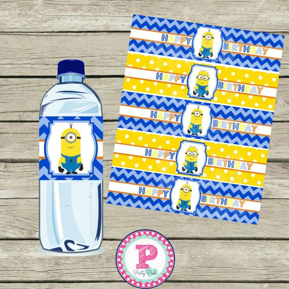 ON SALE Minion Birthday Party Water Bottle By PartyPoshPrintables, $4.50