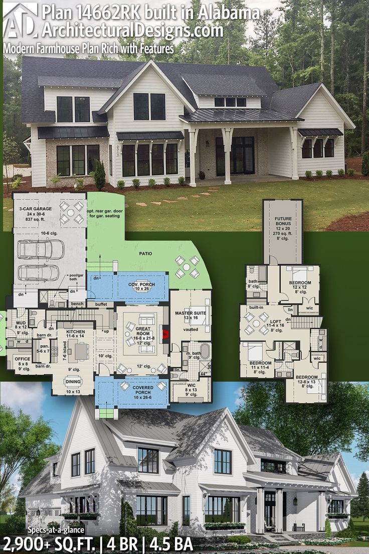 49 Most Popular Modern Dream House Exterior Design Ideas 3 In 2020: Plan 14662RK: Modern Farmhouse Plan Rich With Features In 2020