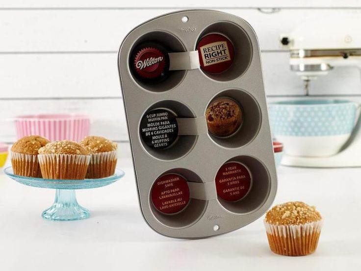 Bake big, beautiful muffins that are even bigger on flavor! The Wilton 6-Cup Jumbo Muffin Pan will please even the most critical confectionist, with a heavy-gauge steel construction that heats evenly across the batch. Featuring non-stick coating, cleaning up is sure to be quick and easy.