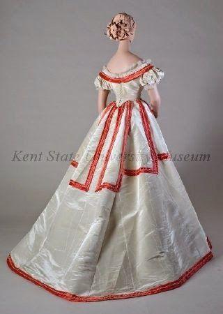 (Evening/Ball) Dress     Date  1865, ca     Culture  American or European     Description  Ivory watered silk evening dress. ...