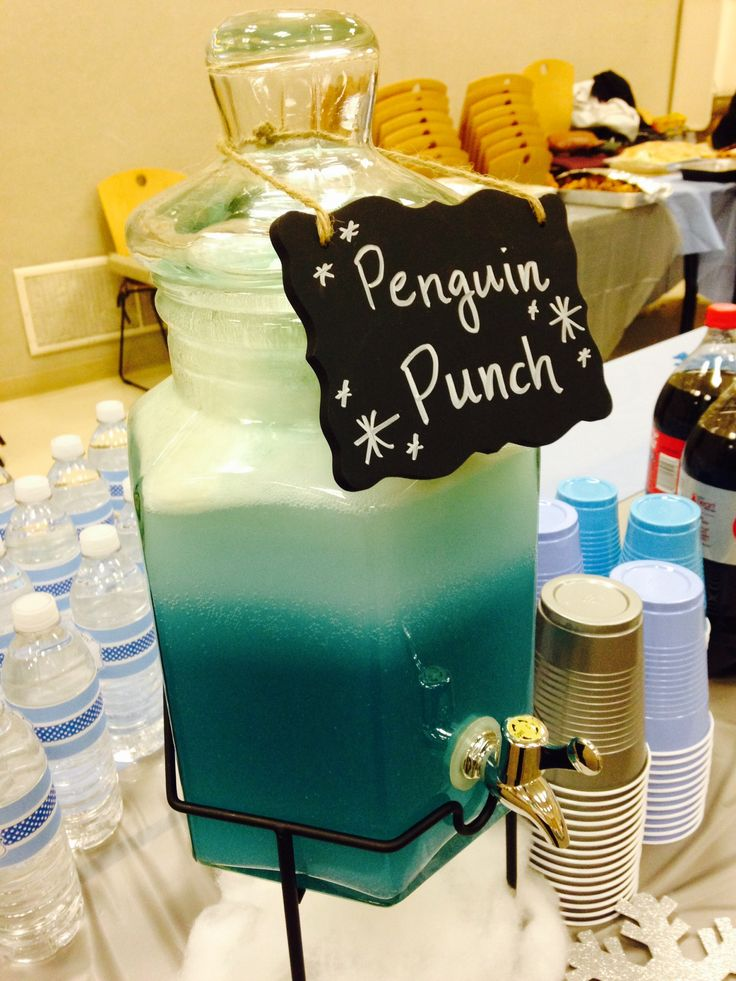 Penguin punch for Grayson's baby shower:  Blue Hawaiian punch, add vanilla ice cream to layer the top, add 7up to make the snow like effect. May add Malibu Rum if you want an alcoholic version.