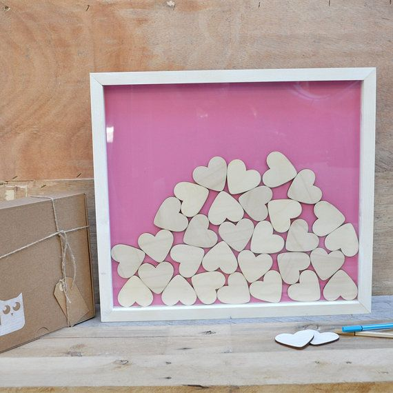 Wood frame guest book for wedding with 60 pieces by mywoodydinner