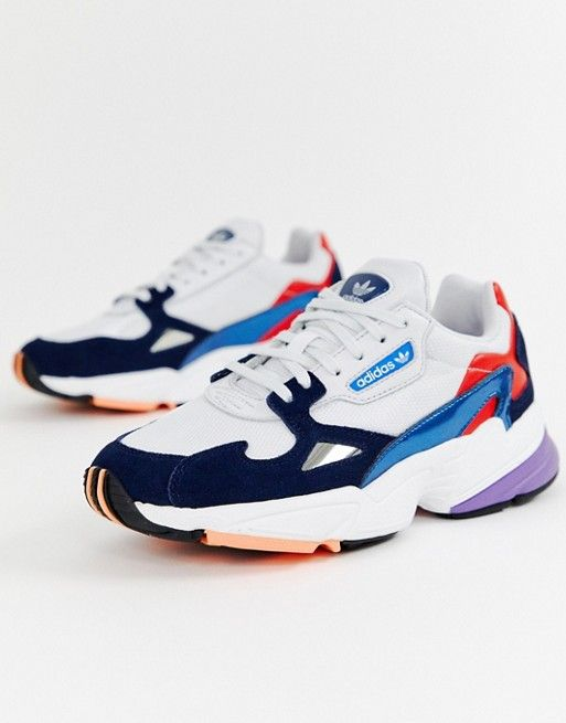 Adidas | adidas Originals white and navy Falcon trainers