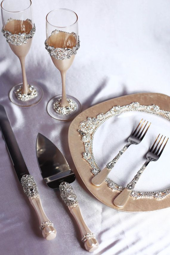 Personalized Wedding Glasses And Cake Server By