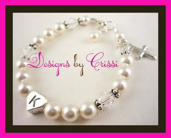 Beautiful pearl crystal cross charm Christening by DesignsbyCrissi