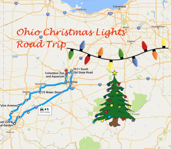 The total trip only takes about 6 hours of drive time round-trip, so you can take the trip within 3 days and 3 nights. (We recommended staying overnight in the Columbus area one night, the Cincinnati area the next night and the Dayton area the last night.) We've included a link to the Google Map