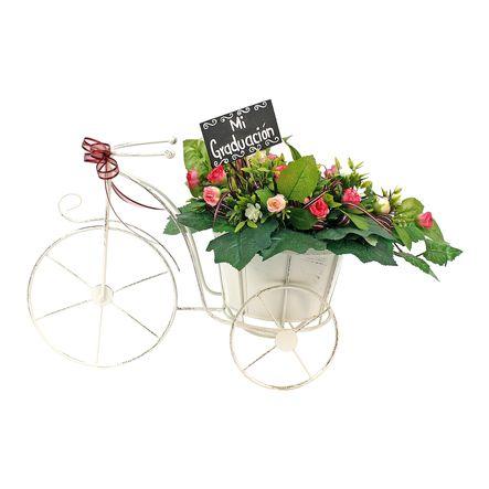 Proyectos |Adorno centro de mesa bicicleta floral con letrero