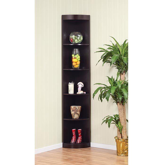 Kitchen Corner Shelf Decorating Ideas: Corner Shelving Unit Decoration With Black Wood 5 Tier