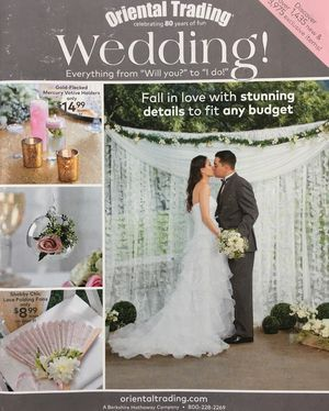 The cover of the 2017 Oriental Trading Wedding catalog