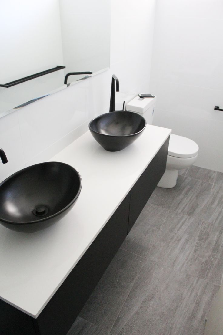 Small Ensuite Black Sinks Wall Hung Vanity White Benchtop Back To Wall To