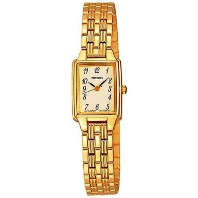 $103.39 - Seiko SXGL64 Women's Rectangle Watch with Gold Dial and Gold Band - Dress Gold-Tone - Cheap Watch Prices Online