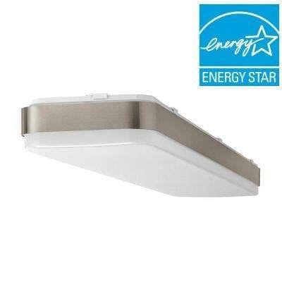 4 ft. x 1 ft. Brushed Nickel LED Linear Ceiling Flushmount