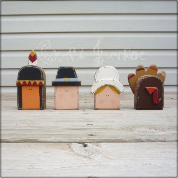 """Easy to duplicate this idea. Each have been hand cut from 2"""" wood, painted, then sanded and stained for a primitive distressed look. Approximate size:Indian 3""""W x 7.5""""H, Pilgrim boy 5""""H x 3.5""""W, Turkey 5""""H x 5.5""""W, Pilgrim girl 5""""H x 4""""H."""