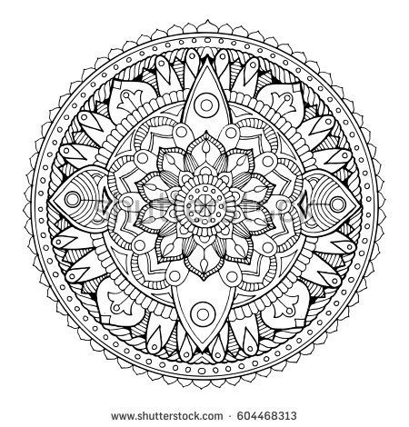 Mandala coloring book. Black and white lace pattern raster illustration
