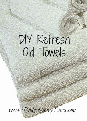 Refresh Old Towels: Start with a washer full of old towels. wash with hot water and one cup vinegar, once the cycle is done, wash again with hot water and half cup of baking soda! Then, stick in the dryer and be ready to enjoy fluffy and fresh towels!
