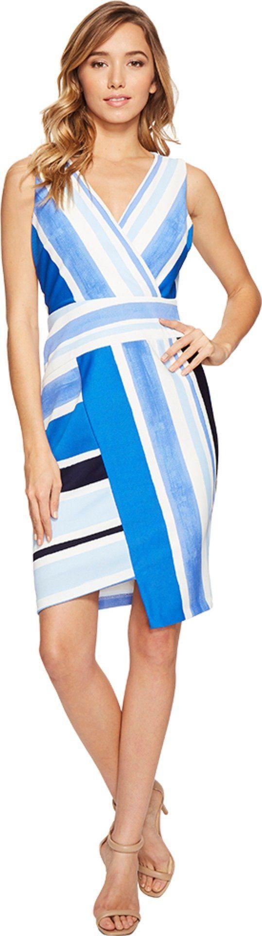 Donna Morgan Women's V-Neck Pique Sheath with Asymmetrical Seaming Detail Marine Navy Blue/Ice Multi Dress
