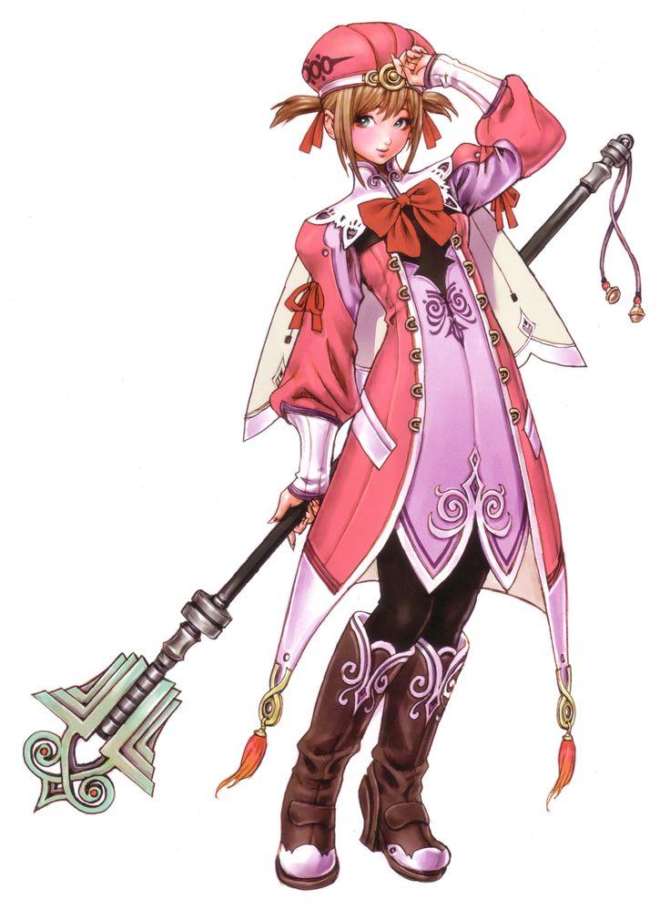 alteil boots brown_hair green_eyes hat highres ribbon ribbons staff twintails wild_flower yamashita_shun'ya yamashita_shunya