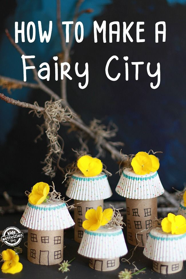 This magical fairy city is one of our favorite toilet paper roll crafts.