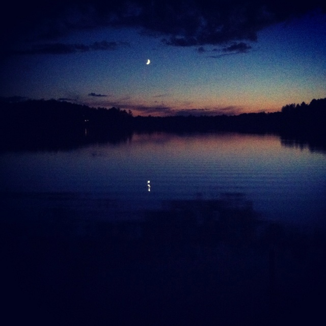 Crescent Moon over Leader Lake.