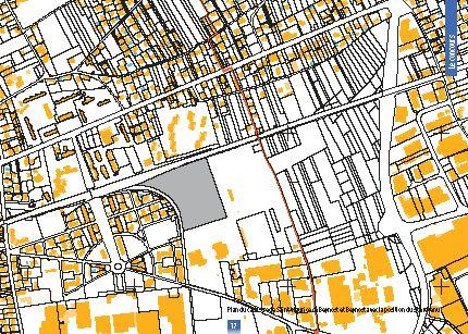 Plan du cadastre avec le terrain de l'espace aquatique - Projet LILÔ