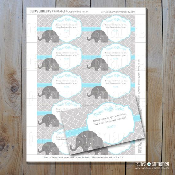 Free Printable Elephant Diaper Raffle | Diaper Raffle / Instant Download/ Printable  Raffle Ticket /