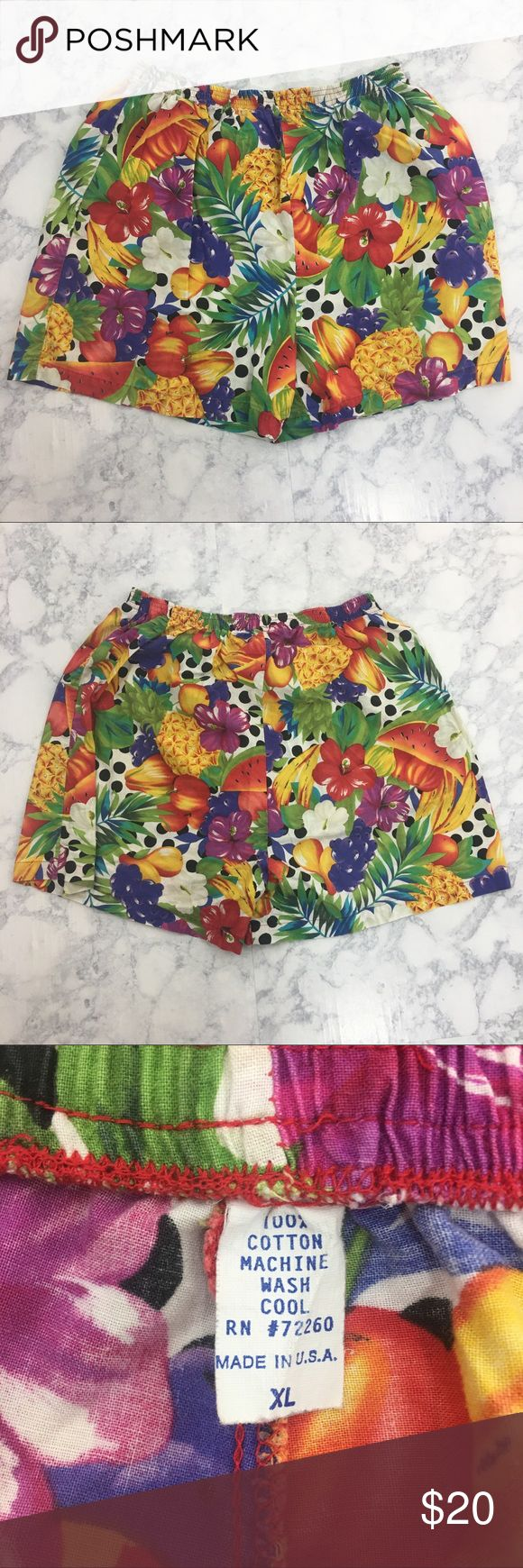 VTG 90's Pull On Fruity Floral Polka Dot Shorts Excellent used conditon. Lightweight. These have a fun design featuring: grapes, pineapple, watermelon, banana, orange, hibiscus, tropical leaves, and dots. Super colorful. These could fit a large. Vintage Shorts