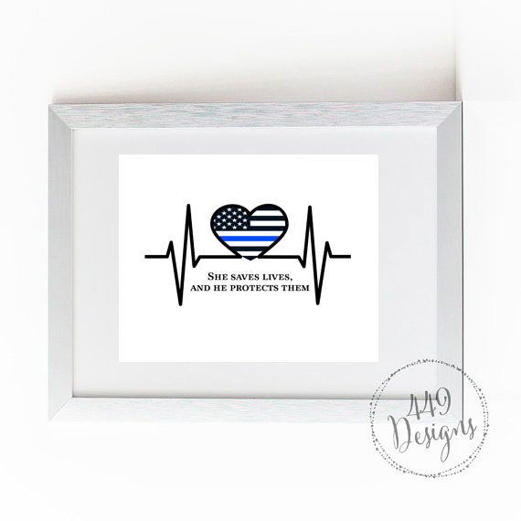 INSTANT DOWNLOAD Digital File Thin Blue Line Police and Nurse