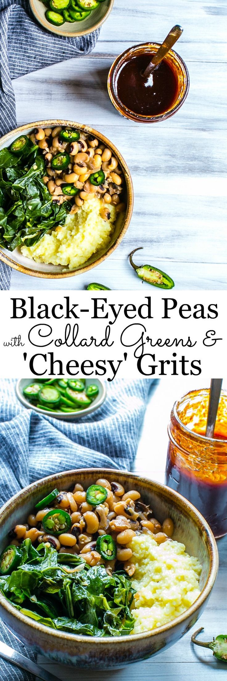 Quick and Easy Black Eyed Peas with Smoky Collards and 'Cheesy' Grits. Slather with your favorite BBQ sauce. Vegan or Vegetarian | Vanilla And Bean