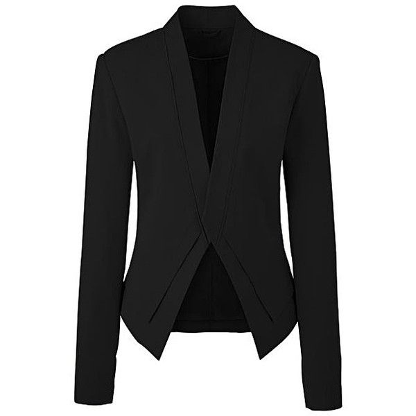 Double Layered Tailored Jacket ($78) ❤ liked on Polyvore featuring outerwear, jackets, tailored jacket, lined jacket, tailored blazer, cropped blazer and blazer jacket