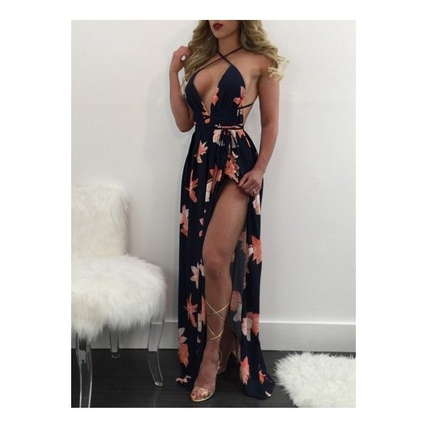 Women's Deep V Neck Backless High Split Maxi Prom Dress (420 MXN) ❤ liked on Polyvore featuring dresses, navy, holiday party dresses, cocktail party dress, prom dresses, floral print cocktail dress and navy cocktail dresses