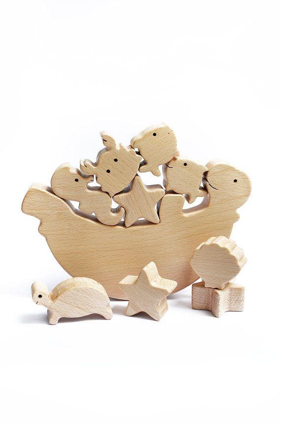 Sea Animal Wooden Balance Toy Wooden Balancer by WoodAndYarnToys