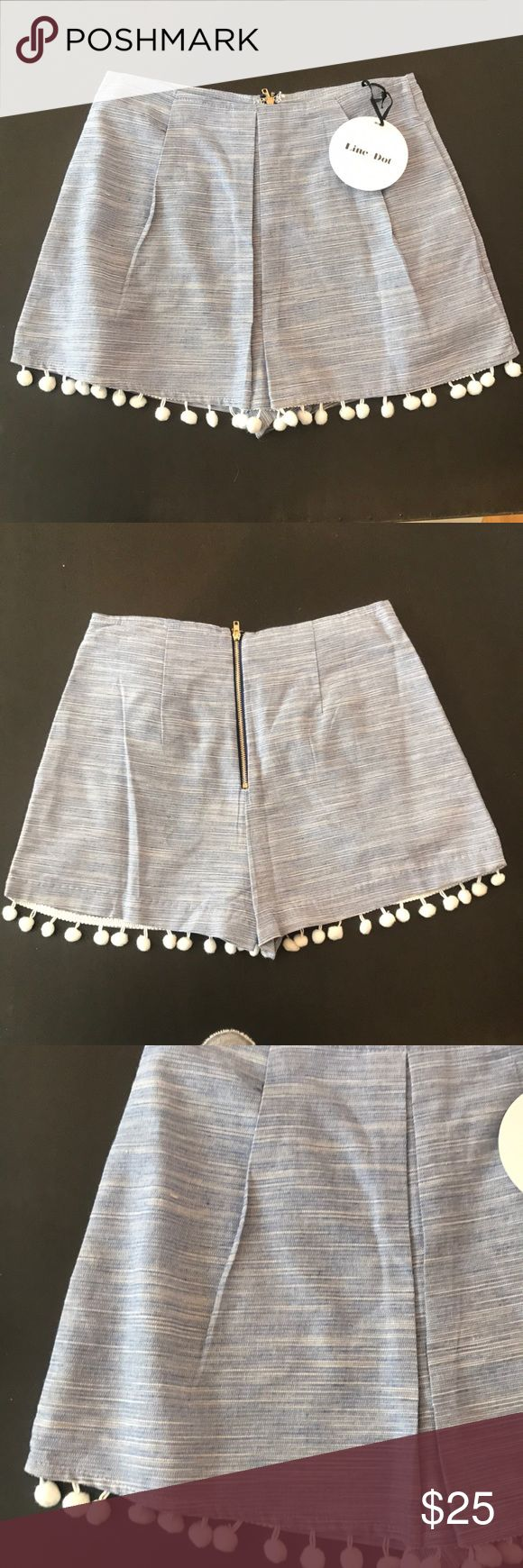 Line + Dot skort Blue multi high waisted pleated front skort with tassel detail. Skirt in the front with shorts underneath. Never been worn. Tags attached. Perfect condition. Line & Dot Shorts Skorts