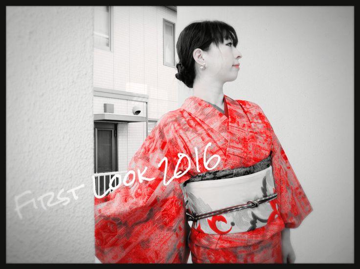 First Look 2016 on blog, ModeAppetite 2016年きものはじめ #kimono #fashion #japanese #newyears #ootd #look #着物 #着物コーデ #お正月 #初詣 #CHOKO #大塚呉服店