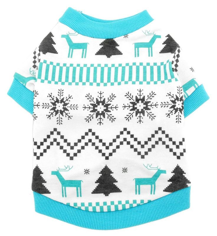 SMALLLEE_LUCKY_STORE Pet Clothes for Small Dog Cat 100% Cotton Reindeer Print Shirt T-shirt Xmas Style Blue ^^ Hurry! Check out this great product : Cat Apparel