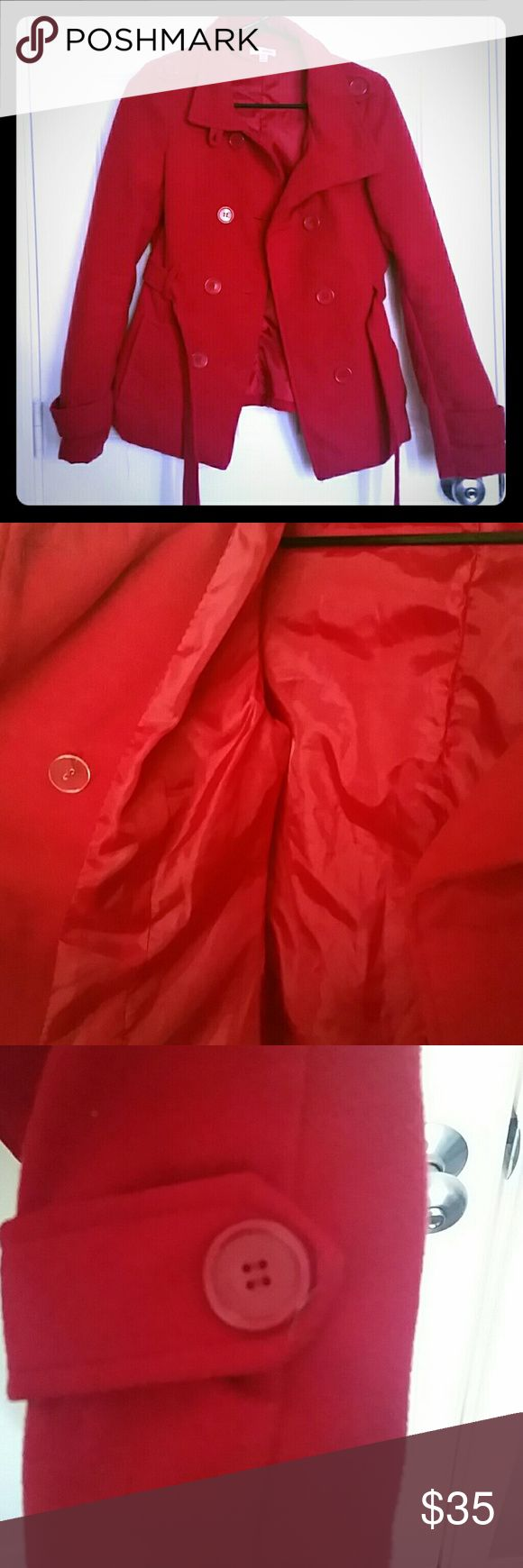 Red pea coat Super cute red pea coat. It's in fabulous conditions , worn only twice! Make me an offer :) BONGO Jackets & Coats Pea Coats