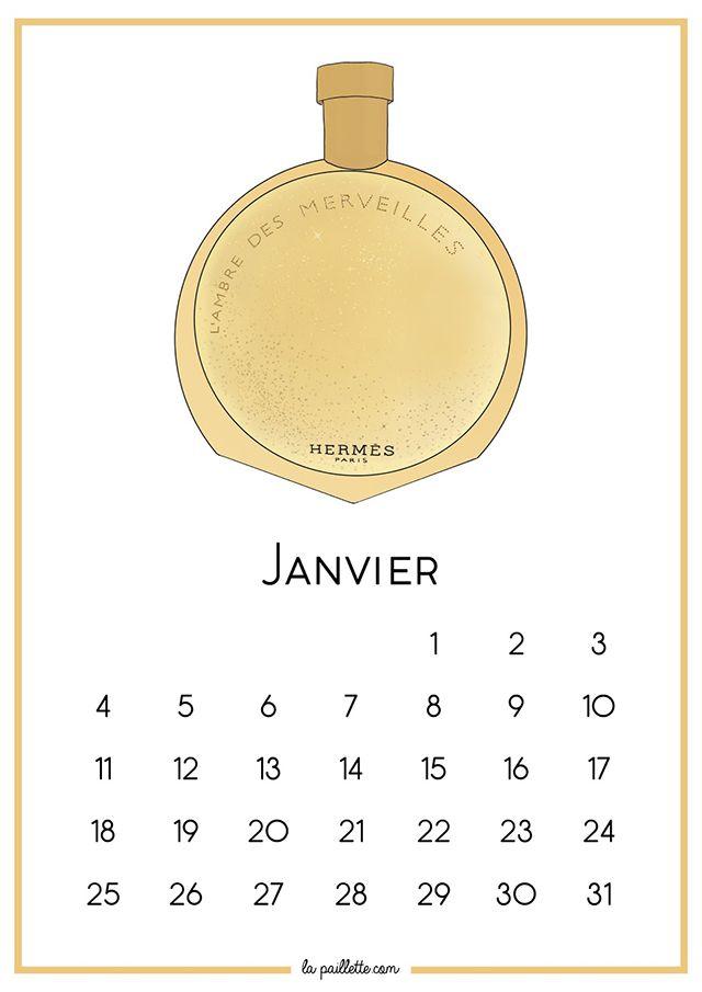 Calendrier Janvier fond d'écran organisé L'Ambre des Merveilles parfum Hermès illustration blog blogger free printable desktop