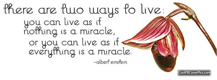"""There are two ways to live: you can live as if nothing is a miracle, or you can live as if everything is a miracle."""