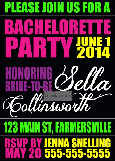 Neon Bachelorette Party or Weekend Digital Invitation or Postcard on Etsy, $8.00