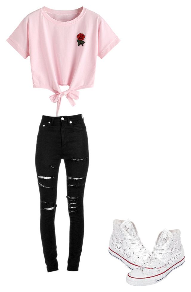 """""""Untitled #18"""" by animallover0329 on Polyvore featuring WithChic, Yves Saint Laurent and Converse"""