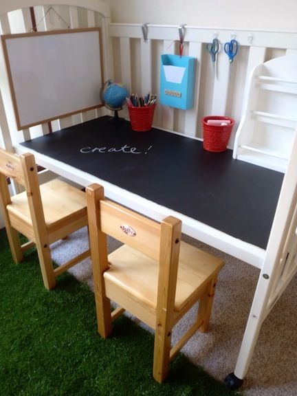 Turn an Old Crib Into a Desk- such a GREAT idea, and one of my girls is about to transition to a toddler bed!