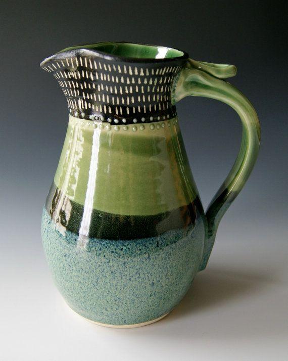 Ceramic Pitcher, Wheel Thrown Pottery, Stoneware Clay Pitcher, Blue Cream Organic Green Black