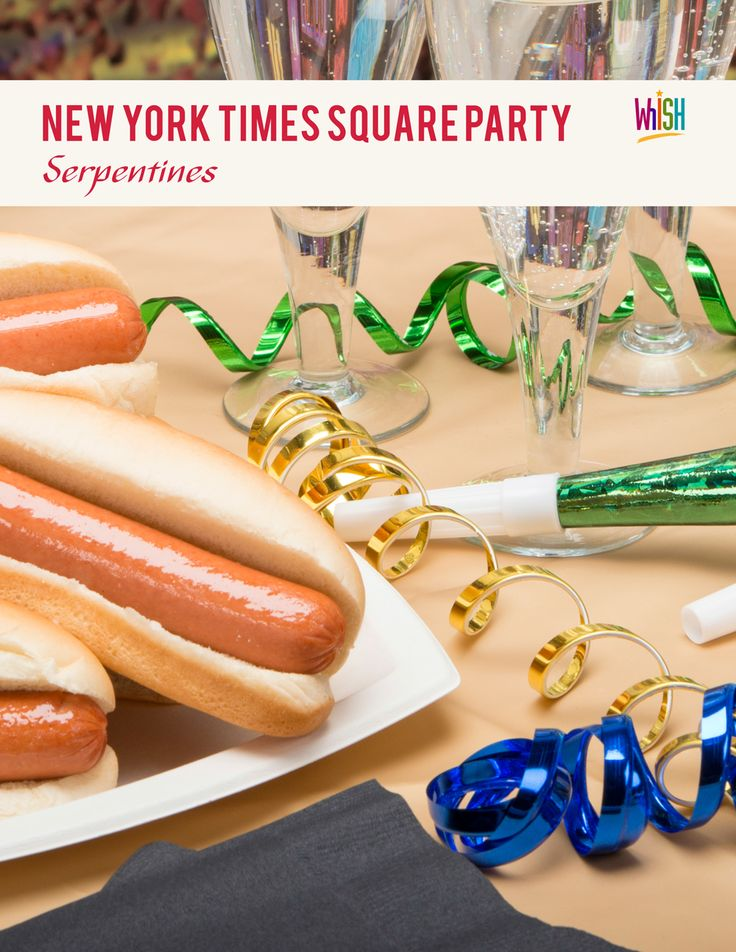 Decorate table top with serpentine streamers for New York Times Square themed New Years Eve party.