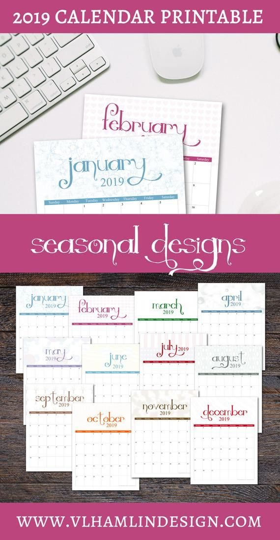 2019 Calendar Printable Seasonal Designs Instant Download An