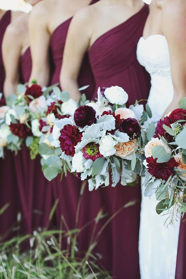 Lush jewel-toned bridesmaid dresses will make an epic contrast against a winter wonderland backdrop for your wedding.